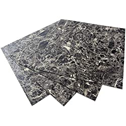 ROSEROSA Peel and Stick Square PVC Tiles Marble Carpet Stone Concrete Pattern Vinyl Flooring Tile Decal Sticker : 15.74 inch X 15.74 inch, Thickness 2.0mm (ECK-302 : Square 4 Tiles)