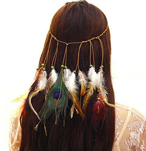 P-LINK Headwear Feather Fascinator Headband Tassels Hair Band Women Girls Leather Decor Dress Necklace Tribal Dresses Fancy Clothes Tassels Hairband qtgirl Apparel Festival -