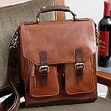 3-Bottle Leather BYO Wine Carrier Bag w/Front Pockets, Chestnut