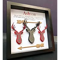 Personalized Name Origin and Meaning Paper Deer Antlers and Arrows Rustic Plaid Shadowbox Frame Baby Boy Nursery Decor Wall Art Gift