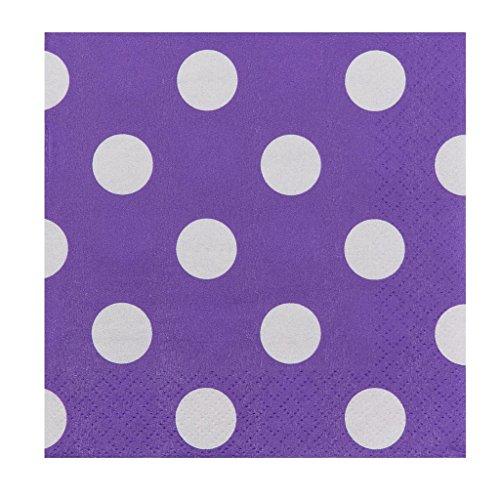 JAM PAPER Small Polka Dot Beverage Napkins - 5 x 5 - Purple with Polka Dots - 16/Pack