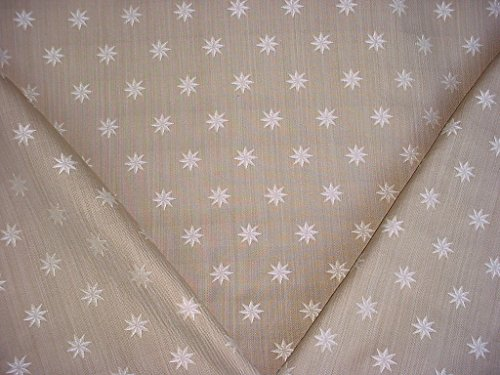 163H12 - Beige / White / Taupe Embroidered Star Designer Upholstery Drapery Fabric - By the Yard
