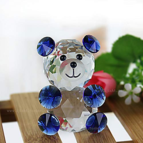 (Haomao Glass Crystal Animal Teddy Bear Figurine Miniature Christmas Celebrity Minifigures Kids Office Ornaments Toy Gift (red) (Color : Blue))