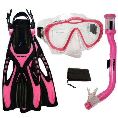 Promate Junior Snorkeling Scuba Dive Purge Mask Dry Snorkel Fins Gear Set for Kids, Pink, L/XL