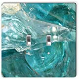 Rikki Knight 9270 Double Toggle Abstract Blue Glass Background Design Light Switch Plate