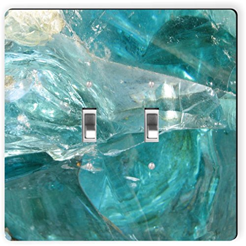Rikki Knight 9270 Double Toggle Abstract Blue Glass Background Design Light Switch Plate by Rikki Knight