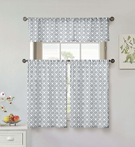 Vera Neumann Oralie Floral Trellis Printed Kitchen Tier & Valance Set | Small Window Curtain for Cafe, Bath, Laundry, Bedroom ()