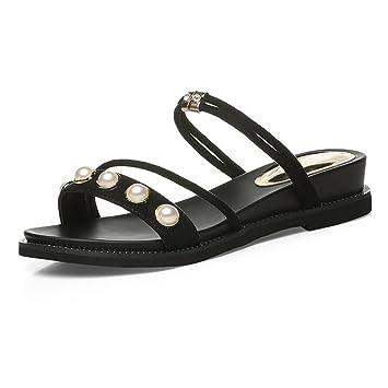 Sandalias XW Zapatillas de Dos Desgaste Abierto Dedo del Dedo del pie Vamp Mujer Verano Zapatillas