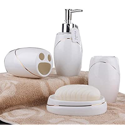 JynXos Ceramic Bathroom 5 Pieces Set Supplies White With Golden Border Bathroom Accessories Set Stylish Bath Accessories Beautiful Home Gifts - This collection is constructed in ceramic to withstand everyday usage. Functional and stylish accent decor for any bathroom Easy to clean,high gloss and durable scratch resistant surface - bathroom-accessory-sets, bathroom-accessories, bathroom - 51PzcGHdzXL. SS400  -