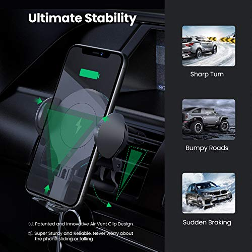 APPLUS Wireless Car Charger,Automatic Sensor Car Phone Holder,10W Qi Fast Charging Auto-Clamping mount,Air Vent Dash for iPhone 11/11 Pro/11 Pro Max/Xs MAX/XS/XR/X/8/8+, Samsung S10/S10+/S9/S9+/S8/S8+