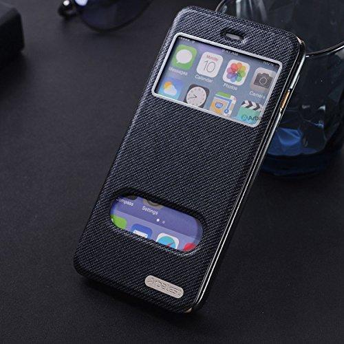 "Arbalest® Genuine Leather Case for iPhone 6 Plus 5.5"" , [ Dual View Window ] Ultra Slim Magnetic Flip Folio Premium Genuine Leather Case with View Windows for Apple iPhone 6 Plus 5.5 inch 2014 - Black"