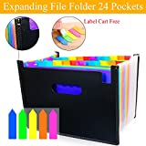 24 Pockets Expanding Files Folder with Lables/ A4 Colorful Expandable File organizer/ Plastic Business File Organizer Box/ Portable Desktop Business Paper Document Holder Wallet for Office School Host
