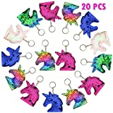 FEPITO 20 PCS Magic Reversible Mermaid Sequin Unicorn Keychains for Unicorn Party Favors, Unicorn Party Bags Filler Birthday Party Supplies Decoration for girls Kids
