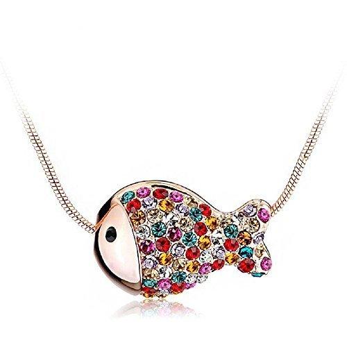 J F Collar de mujer con colgante pez y cristal Swarovski Crystal