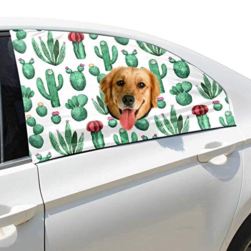 Menedo Lovely Green Watercolor Oasis Cactus Foldable Pet Dog Safety Car Printed Window Fence Curtain Barriers Protector for Baby Kid Adjustable Flexible Sun Shade Cover Universal Fit for - Curtain Oasis