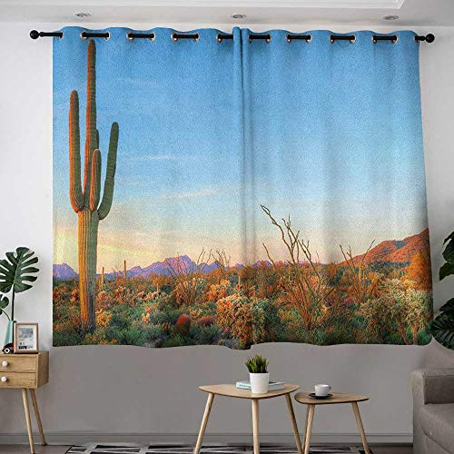 Zodel Curtains for Living Room Saguaro Sun Goes Down in Desert Prickly Pear Cactus Southwest Texas National Park Insulated with Grommet Curtains for Bedroom W 72