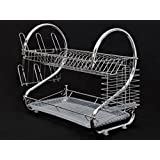 Cherry Queen Chrome Kitchen Dish Cup Drying Rack Drainer Dryer Tray Cutlery Holder Organizer by Justcharms Sports