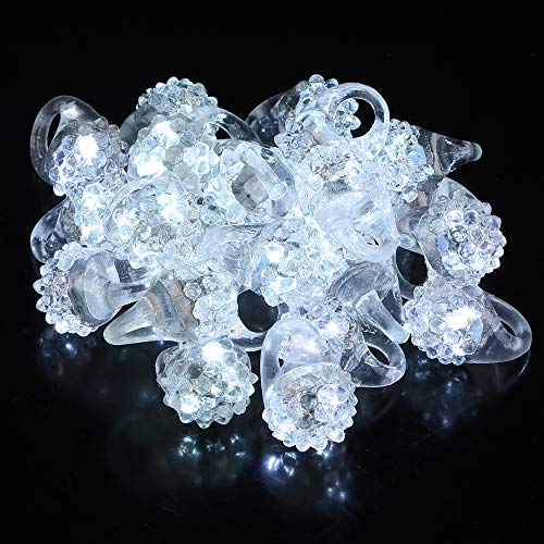 Fun Central AD627 24pcs LED Flashing Jelly Bumpy Rings, LED Jelly Finger Rings, Glow in The Dark Party Favors for Kids and Adults, Party Favors for New Years Eve - White -