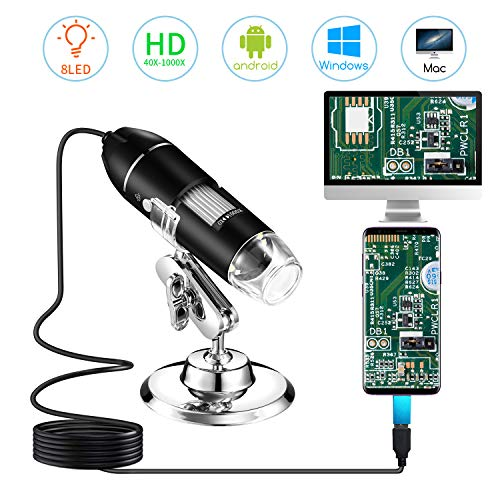 STPCTOU-Digital-Microscope USB-Handheld-Magnification 8 LED Mini Camera and Metal Stand Compatible