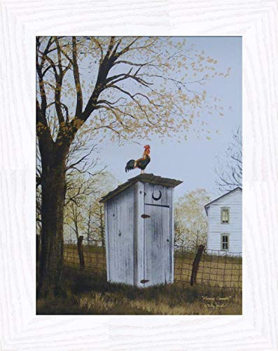 Home Cabin D cor Morning Commute by Billy Jacobs 16×20 Outhouse Bathroom Rooster Country House Primitive Folk Art Print Framed Picture 2 White Wash
