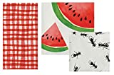 Picnic Theme Napkins Set - Bundle Includes Guest Napkins/Towels, Lunch Napkins, and Beverage Napkins in Whimsical Picnic Designs by Elise