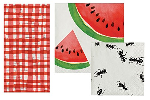 Picnic Theme Napkins Set - Bundle Includes Guest Napkins/Towels, Lunch Napkins, and Beverage Napkins in Whimsical Picnic Designs by Elise -