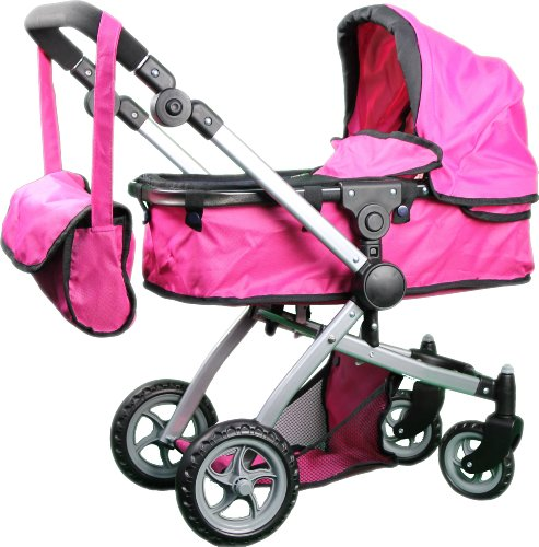 Babyboo Deluxe Doll Pram with Swiveling Wheels and Adjustable Handle and Free Carriage Bag – 9651B, Baby & Kids Zone