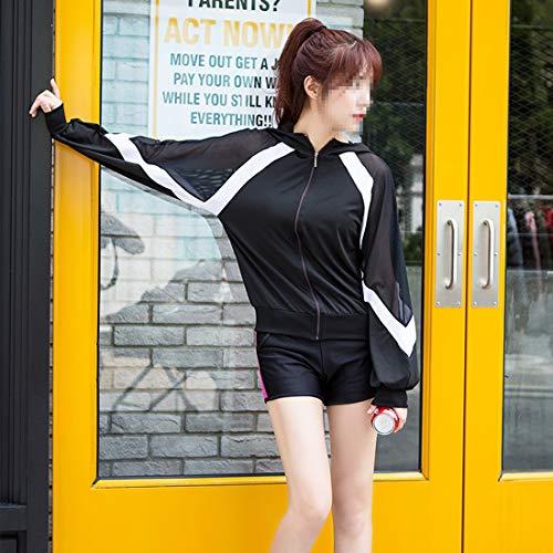 Shizheshop Antisísmico Mujer Capucha Tirantes De Yoga Manga 8 Mono Juego Larga 3 Piezas Cruzados 1 Para Con r8qn0rC