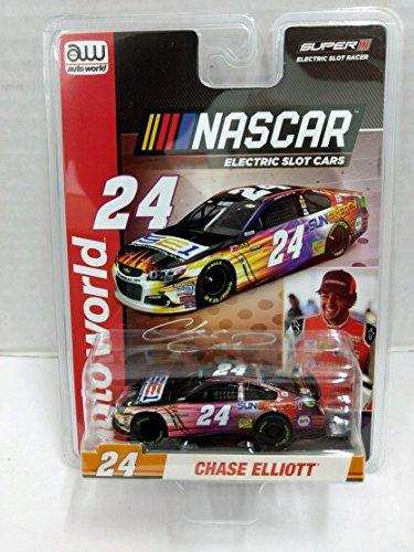 Scale Electric Slot Car - Auto World SC326 NASCAR #24 Chase Elliott Sun Energy 1 Chevrolet HO Scale Electric Slot Car