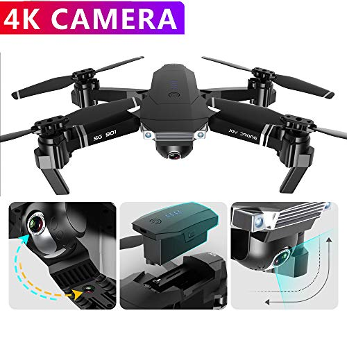Teeggi Drone SG901 4K HD Drone with Camera WiFi FPV Gesture Selfie Foldable RC Quadcopter for Beginners with One Key Operation, Optical Flow Dual Positation System for Long time Flight 18 mins