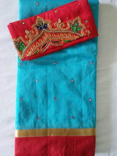 5a22d11c9ce65 Kota cotton mix silk saree with mirror work and muggum work Blouse.   Amazon.in  Clothing   Accessories