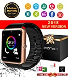 Bluetooth Smart Watch With Camera Waterproof Smartwatch Touch Screen Unlocked Cell Phone Watch Smart Wrist Watch Smart Watches For Android Phones Samsung IOS iPhone 6S 7 7S 8 X Plus (black)