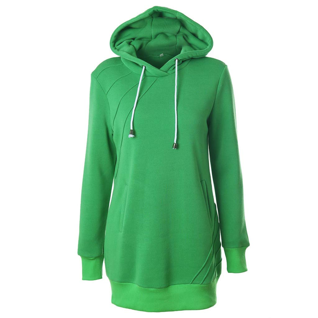 SADUORHAPPY Women's Long Sleeve Medium Long Solid Color Splice Sweater Drawstring Hooded Hooded Top Green by SADUORHAPPY Sweatshirts
