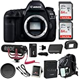 Canon EOS 5D Mark IV Full Frame Digital SLR Camera (Body) Video Bundle with Rode Microphone, 128GB (2x 64GB Memory Cards), Backpack & Double Battery Bundle