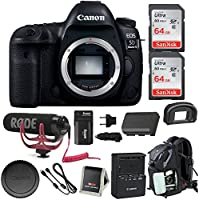 Canon EOS 5D Mark IV DSLR Camera (Body) w/ Rode Microphone, 128GB, Backpack, & Spare Battery & Travel Charger