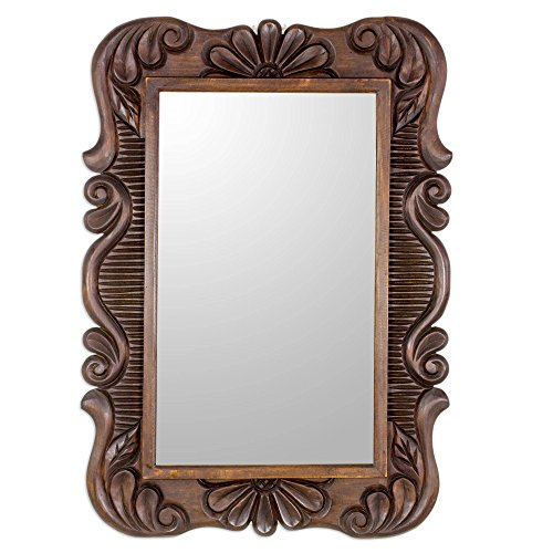 NOVICA Brown Hand Carved Floral Wood Frame Wall Mounted Rectangluar Mirror, Sunflower View' Carved Wood Frame Mirror