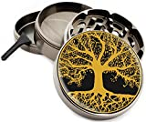 Tree of Life Large Herb Grinder - Four Piece Grinder with Pollen Catcher 2.5'' Wide Premium Grinders - Gift Box