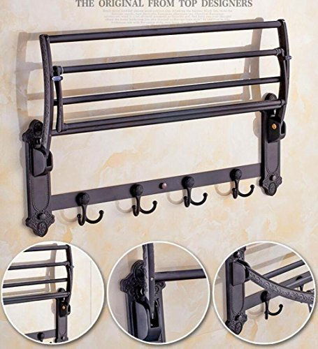GL&G European luxury black Bathroom Bath Towel Rack Double Towel Bar With hook Bathroom Storage Organizer Shelf Bathroom Accessories Holder Towel Bars Wall Mount Towel Bars,6023.513.5cm by GAOLIGUO (Image #2)