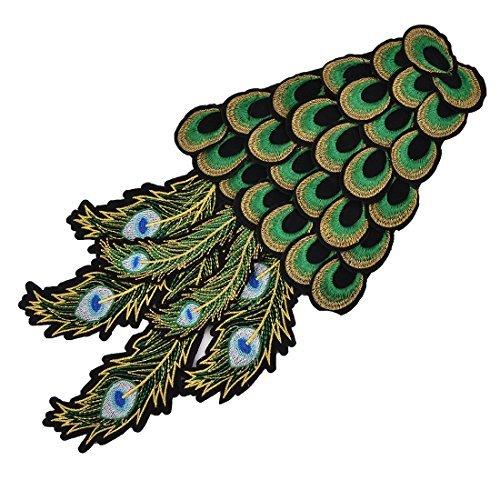 eDealMax Forma polister pavo Real del arte de DIY de Coser ropa Patch decoracin del Applique del cordn Verde