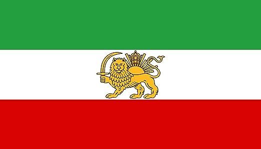 AES Bandera de Irán iraní histórico 3 x5 León Sol Corona Banner: Amazon.es: Hogar