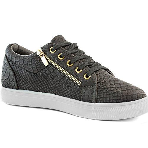Dailyshoes Donna Comoda Tasca Piatta Sneaker Scarpe Grigio Antracite (corre Piccola)