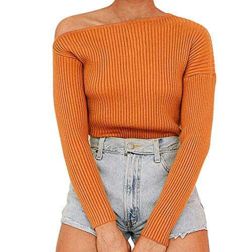 FANFU Women Sexy Solid Off Shoulder Sweater Long Sleeve T-Shirt Blouse Tops (Take Off Your Blouse And Your Underpants)