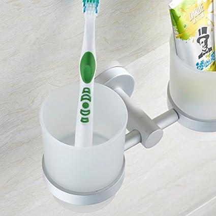 WDBM Espacio Continental Aluminio Cepillo de lavado Portavasos Portavasos dentífrico taza tazas de cepillado dinero porta