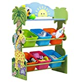 Fantasy Fields - Sunny Safari Kids' Toy Organizer with 6 Storage Bins, Green