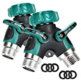 propane boat heater - Briidea Metal Garden Hose Splitter, 2 Way Y Hose Connector with Comfortable Rubberized Grip, Fits with Outdoor Faucet, Sprinkler & Drip Irrigation Systems (2-Pack)