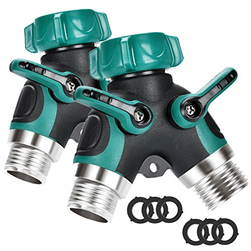 Briidea Metal Garden Hose Splitter, 2 Way Y Hose Connector with Comfortable Rubberized Grip, Fits with Outdoor Faucet, Sprinkler & Drip Irrigation Systems (2-Pack) (Pool Flow Pump Meter)