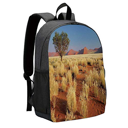 (Landscape Durable Backpack,Acacia Tree Desert Sossusvlei Namibia Southern Africa Photo for School Travel,12