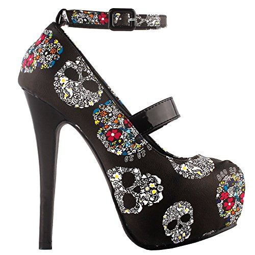 SHOW STORY Punk Black White Floral Skull Pattern Mary Jane Buckle Evening High Heel Platform Stiletto Party (Black Party Pumps)