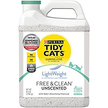 Purina Tidy Cats Light Weight, Low Dust, Clumping Cat Litter, LightWeight Free & Clean Unscented, Multi Cat Litter - (2) 8.5 lb. Jugs