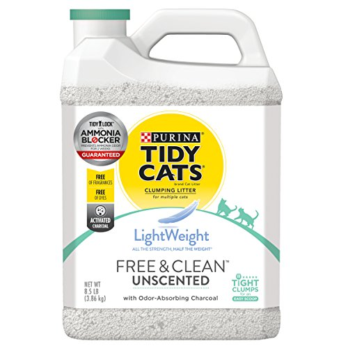 Purina Tidy Cats Light Weight, Dust Free, Clumping Cat Litter; LightWeight Free & Clean Unscented, Multi Cat Litter - 8.5 lb. Jug, 2-Pack